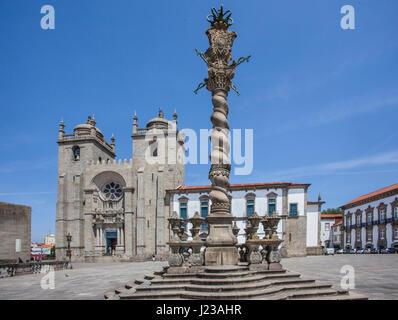 Portugal, Region Norte, Porto, Pelourinho do Porto at Terreiro da Sé, the square in front of Porto Cathedral - Stock Photo