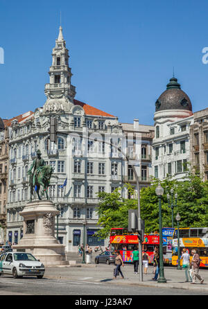 Portugal, Region Norte, Porto, view of Avenida dos Aliagos from  Praca da Liberdade, with equestrian statue of King - Stock Photo