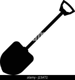 Shovel icon flat. Illustration isolated vector sign symbol - Stock Photo