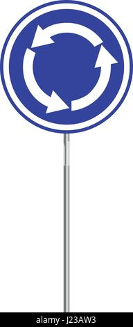 Vector illustration roundabout crossroad road traffic sign isolated on white background. - Stock Photo