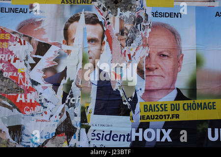 French election posters in the Charente Maritime - Stock Photo