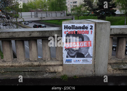 Campaign poster in Paris for French 2017 presidential election - Stock Photo