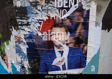 French 2017 election posters in Paris - Stock Photo