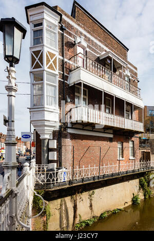 An unusual listed Building on the bank of the River Medway on Tonbridge High Street, Kent, uk - Stock Photo