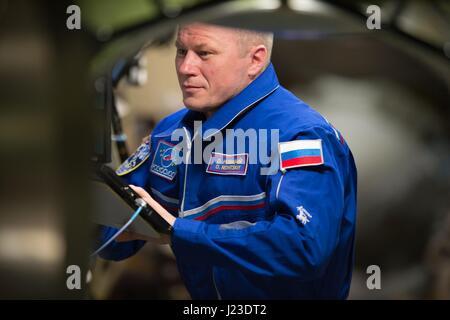 NASA Expedition 50 prime crew member Russian cosmonaut Oleg Novitskiy of Roscosmos works on the International Space - Stock Photo