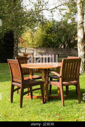 garden furniture tables and chairs stock photo