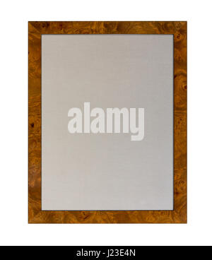 Cloth based pinboard or notice board inside a wooden picture frame isolated on white background - Stock Photo