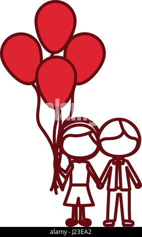 red silhouette of caricature faceless couple of boy short hair and girl with side hairstyle with many balloons - Stock Photo