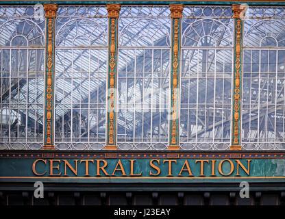 Glasgow Central Station window - Stock Photo