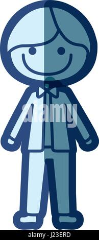 blue silhouette of caricature smile man with bow tie