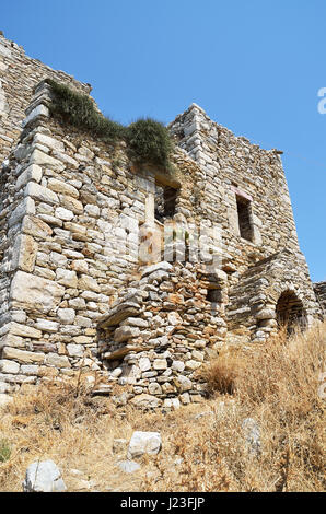 Ruins of tower house in Vathia Mani, Greece - Stock Photo