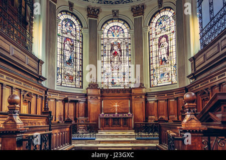 Saint Annes Church in Manchester, UK. View of the beautiful mosaic windows