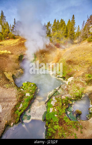 Hot spring in Yellowstone National Park, Wyoming, USA. - Stock Photo