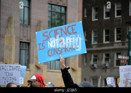 A sign at the March for Science in New York City - Stock Photo