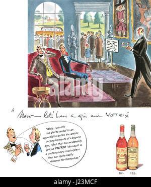 1950 British advertisement for Votrix Vermouth. - Stock Photo