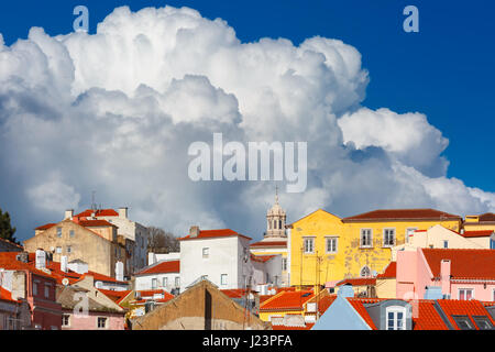 Alfama on a sunny afternoon, Lisbon, Portugal - Stock Photo