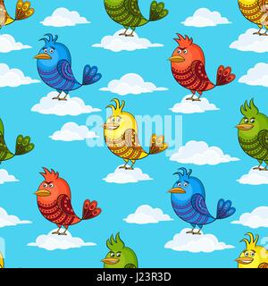 Funny Birds on Clouds, Seamless - Stock Photo