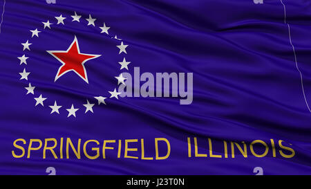 Closeup Springfield Flag, Capital of Illinois State, Flying in the Wind - Stock Photo