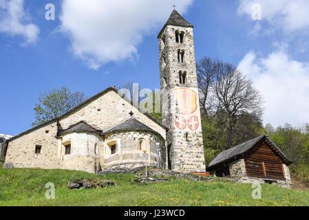 Leontica, Switzerland - 17 April 2017: The Romanesque church of San Carlo di Negrentino in Leontica on  canton Ticino, - Stock Photo
