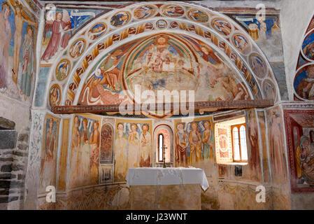 Leontica, Switzerland - 17 April 2017: the frescoes inside the church of San Carlo di Negrentino in Leontica on - Stock Photo