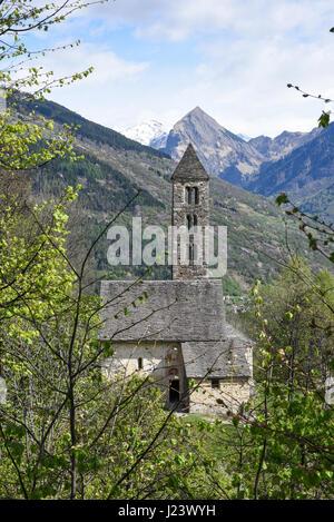 The Romanesque church of San Carlo di Negrentino in Leontica on  canton Ticino, Switzerland - Stock Photo