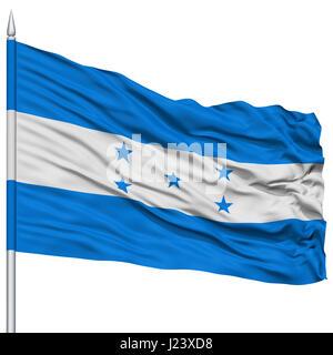 Honduras Flag on Flagpole - Stock Photo