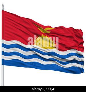 Kiribati Flag on Flagpole - Stock Photo