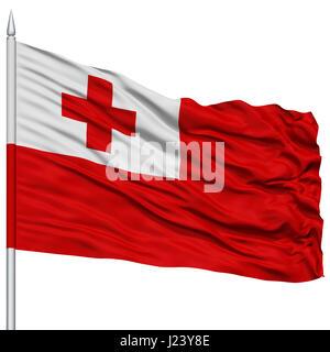 Tonga Flag On Flagpole