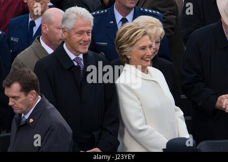 Former U.S. President Bill Clinton and former First Lady Hillary Clinton attend the 58th Presidential Inauguration - Stock Photo