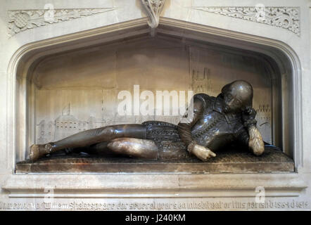 The William Shakespeare memorial sculpture is seen in Southwark Cathedral, in London, Britain March 22, 2017. © - Stock Photo