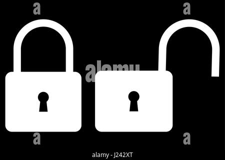Locked and unlocked padlock icon, padlock icon - Stock Photo
