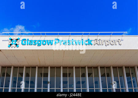 Main entrance sign at Glasgow Prestwick Airport, Prestwick, Ayrshire, Scotland. This airport has been bought over - Stock Photo