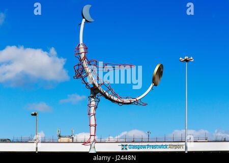 Flying man symbol outside Glasgow Prestwick Airport, Prestwick, Ayrshire, Scotland, UK - Stock Photo
