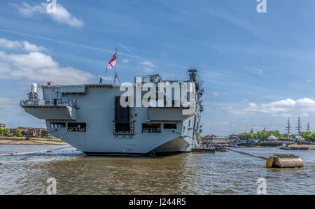 HMS Ocean Helicopter Carrier in Greenwich London England UK - Stock Photo
