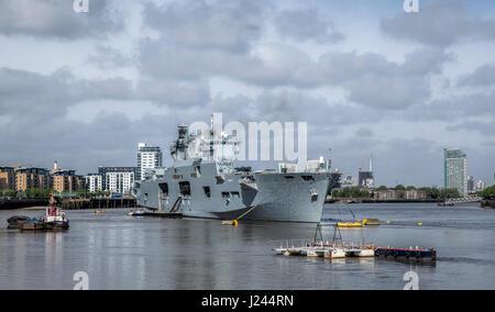 HMS Ocean Royal Navy Ship in Greenwich London England - Stock Photo