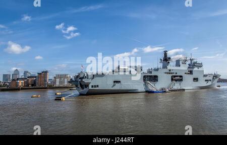 HMS Ocean Ship in Greenwich London - Stock Photo