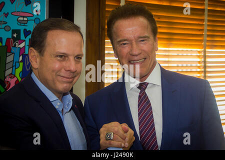 Sao Paulo, Brazil. 24th Apr, 2017. São Paulo Mayor João Doria Jr during a meeting with actor Arnold Schwarzenegger, - Stock Photo