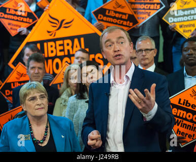 London, UK. 24th Apr, 2017. Leader of the Liberal Democrats campaigns in Vauxhall. Mr Farron has ruled out any coalition - Stock Photo