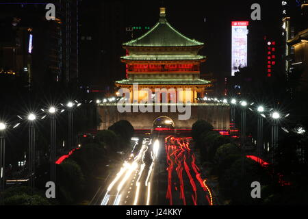 Xian, China. 24th Apr, 2017. A night view of a bell tower built in 1384, in the beginning of the reign of the Ming - Stock Photo