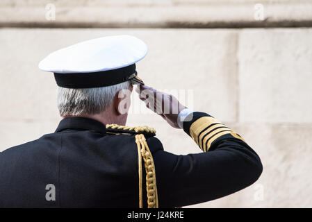 London, UK. 25th Apr, 2017. Officers salutes at the annual ANZAC commemeration in Whitehall, London Credit: Ian - Stock Photo