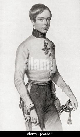 Franz Joseph I or Francis Joseph I, 1830 –  1916.  Emperor of Austria and King of Hungary.  Seen here as a young - Stock Photo