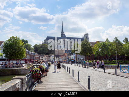 Amiens Cathedral (Cathédrale Notre-Dame d'Amiens) from the Quartier St-Leu, Amiens, Picardy, France - Stock Photo