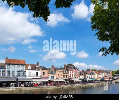The River Somme and Quai Bleu in the Quartier St-Leu, Amiens, Picardy, France - Stock Photo