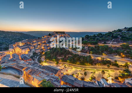 Dawn at the old baroque town of Ragusa Ibla in Sicily, Italy - Stock Photo