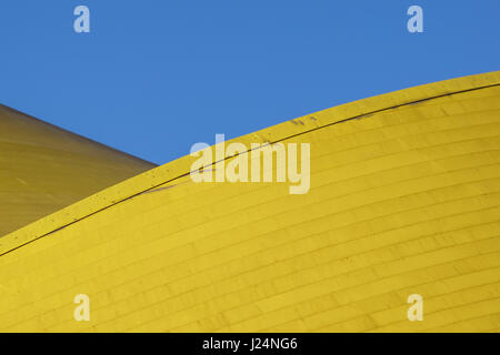 Abstract architectural detail . modern architecture, yellow panels on building facade. - Stock Photo