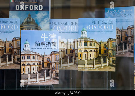 international tourist information books on display in a book shop - Stock Photo