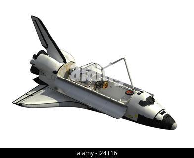 Space Shuttle Orbiter On White Background - Stock Photo