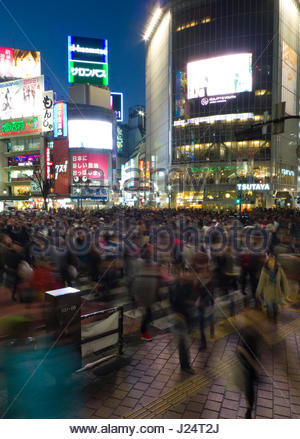 World busiest street crossing, Shibuya Station Crossing, Shibuya, Shibuya-ku, Tokyo, Kanto, Japan - Stock Photo