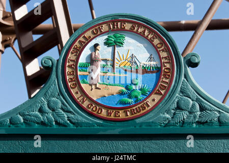 The Florida state seal on a historic marker at the Sanibel Island lighthouse, on a barrier island near Fort Myers, - Stock Photo