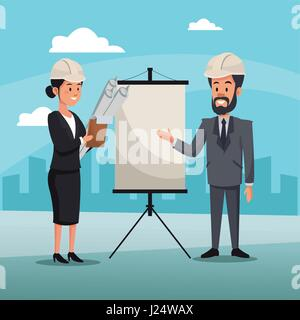man and woman engineer construction presentation board cityscape - Stock Photo
